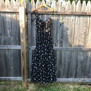 Cache Polka Dot Ruffle Fitted Maxi Party Dress 4